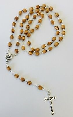Rosary Of Wooden Beads With Crucifix In Silver