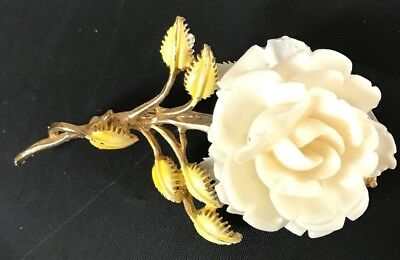 Stunning Retro Vintage Celluloid Carved White Rose Enameled Flower Pin/brooch