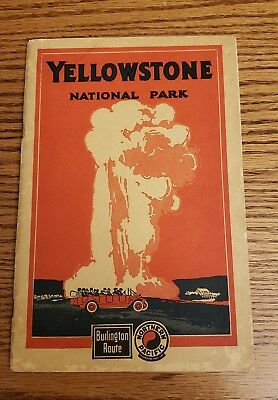 1925 YELLOWSTONE STONE NATIONAL PARK Guide BURLINGTON ROUTE Northern Pacific VGC