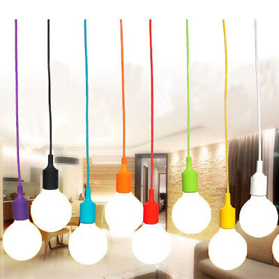 E27 75mm Color Silicone Ceiling Rope Cord Pendant Lamp Holder Light Bulb