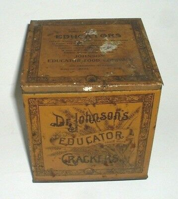 Antique Dr Johnson's Educator Crackers Metal Tin Container Old Vtg 1920's Hinged