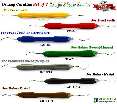 7Pcs Dental Gracey Curettes Periodontists Root Canal Set Silicone Coated Handles