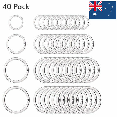 40PCS Metal Flat Split Key Chains Rings For Home Car Keys Stainless Steel Silver