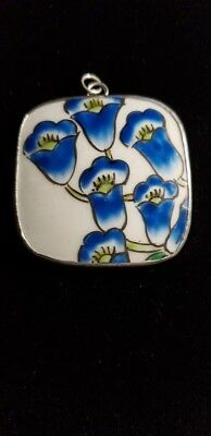 Ming Dynasty Chinese Porcelain Pottery Shard Pendant Blue Lilies