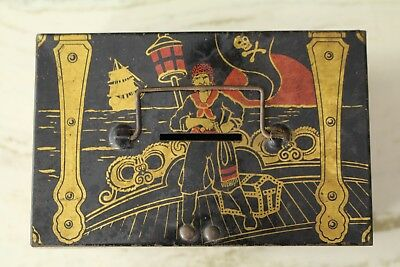 Vintage Tindeco Tin Pirate Chest Bank Toy Box Coin Metal Container Treasure