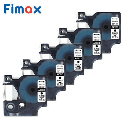 5 PK 40913 9mm Black on White label tapes compatible for DYMO D1 label managers