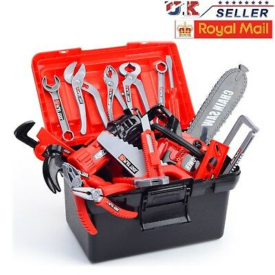 Children Kids 31pcs Drill Tool Box Set DIY Builders Building Construction Toy UK