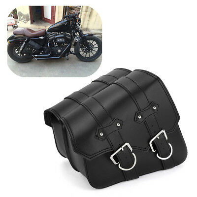 2x Motorcycle Saddle Side Bags Leather For Harley Sportster XL883 XL1200 Black