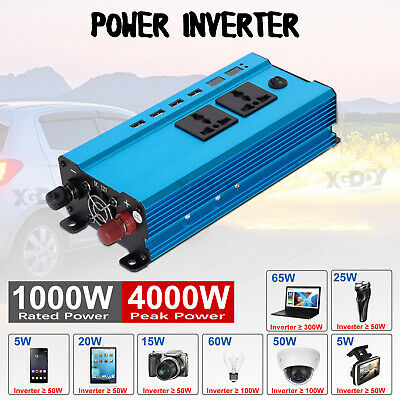 New 3000W/4000W/5000W Car Power Inverter DC12V to AC110V/220V LCD 4 USB Ports W4