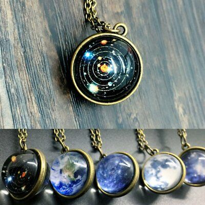 Glow In The Dark Galaxy System Planet Pendant Necklace Double Sided Jewellery