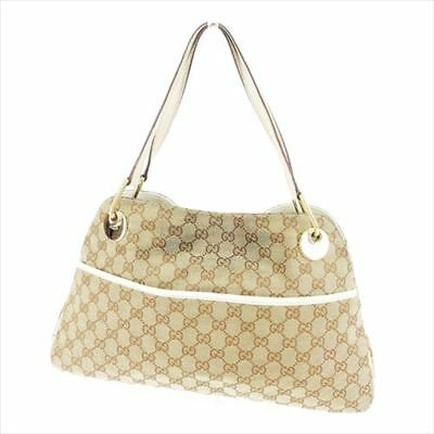1d63dfd2ae8 Gucci Tote bag G logos Beige Brown Canvas Leather Woman Authentic Used T7485