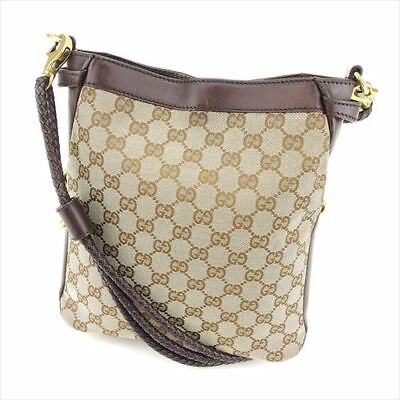 5cd5ba09024 Gucci Shoulder bag G logos Brown Beige Canvas Leather Woman Authentic Used  T8423
