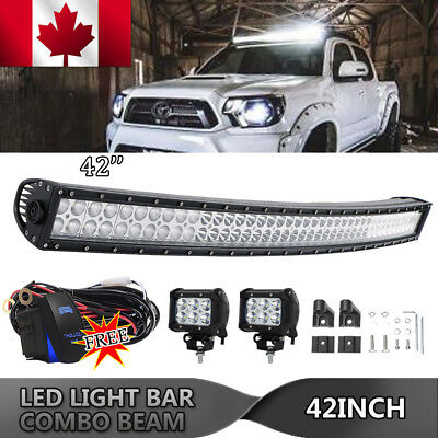"""42"""" INCH Curved LED LIGHT BAR SPOT FLOOD WORK DRIVING 4WD Offroad SUV VS 20"""" 40"""""""