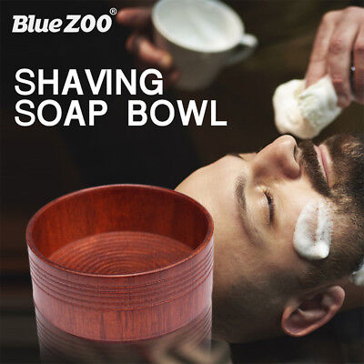 Portable Anti-Adhering Wooden Men Shaving Brush Round Bowl Shave Cream Soap Cup