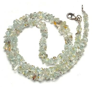 Natural Gem Goshenite Rough 4 to 8MM Size Uncut Chips Beads Necklace 18""