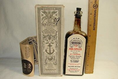 Vintage c1900's Medical Bottle LOXO Pain Expeller Sealed Contents with Box,MINTY