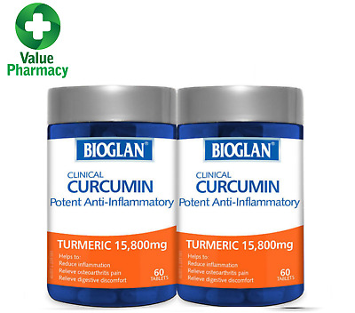 New BIOGLAN CLINICAL CURCUMIN TUMERIC 15800MG 60 CAPSULES x 2 (120caps)