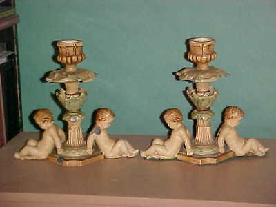 1920s Cherubs Candle Holders Pair Neo Classic Hand Painted Metal -Antique