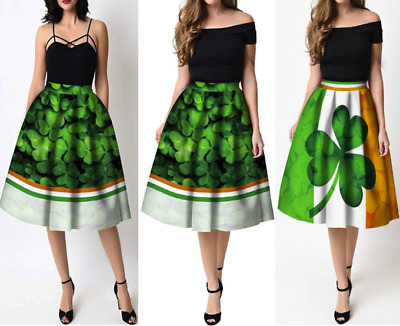 2fcab546e01e Women's Long Patrick's Day Clover Printed Pleated Flared Midi Skirt Party  Dress