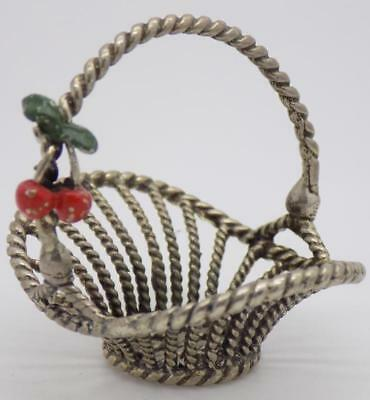 19g/0.7oz Vintage Solid Silver Italian Made Cherry Straw Basket, Stamped