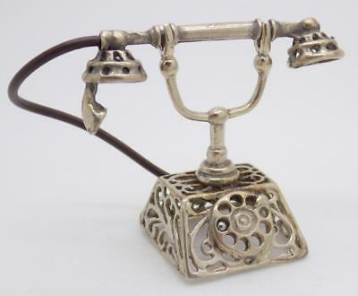 20g/0.7oz Vintage Solid Silver Italian Made BIG Telephone Miniature, Stamped