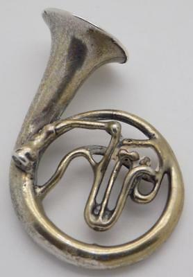 Vintage Solid Silver Italian Made Large French Horn Miniature, Stamped