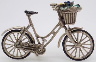 20g/0.7oz Vintage Solid Silver Italian Made Bicycle w/t Flower Miniature, Stamp