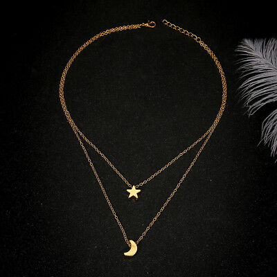 Double Layer Necklace Star Moon Pendant Choker Collar Chain Women Necklace 6A