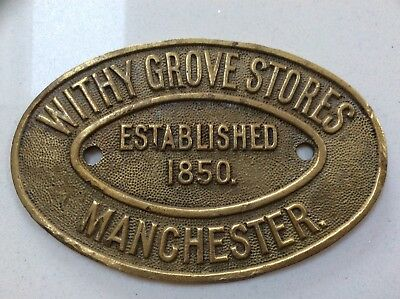 Rare Find Original Antique Brass Safe Plaque Withy Grove Manchester C1880