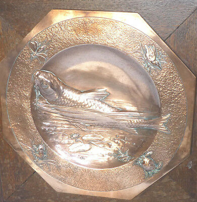 Japanese Oriental Copper Charger Wall Plaque Carp Frog Bird Crab Dish Repousse