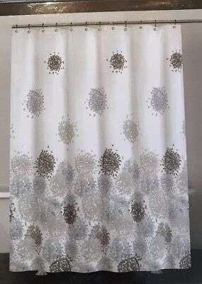DKNY Fabric SHOWER CURTAIN Brushstroke Floral Peri Grays White Poly Cotton