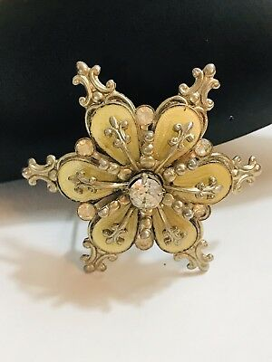 Estate Vintage Antique Rhinestone Gold Tone Flower 3-D Brooch Pin - 1.5""