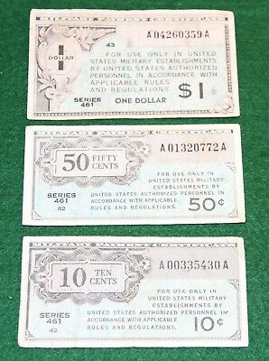 3 United States USA MPC $1,10, & 50 Series 461 Military Payment Certificates