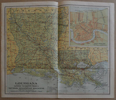 1930 National Geographic Map of LOUISIANA, from April 1930