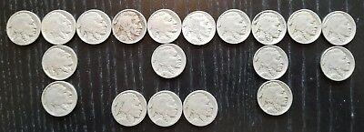 Vintage 1920's - 30's Indian Head Buffalo US Nickel 5c Lot of 19 Free Shipping