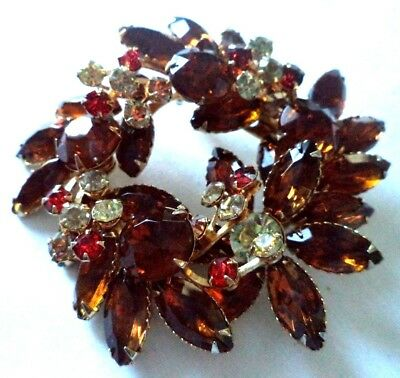"Stunning Vintage Estate High End Rhinestone Flower 2 3/4"" Brooch!!! G301D"