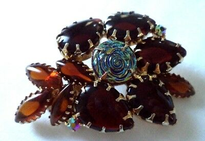 Stunning Vintage Estate High End Iridescent Rhinestone Flower 2 1/4 Brooch G301L