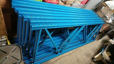 6 off BLUE slotted PALLET RACKING UPRIGHTS 3 m HIGH x 900mm WIDE  DEXION APEX