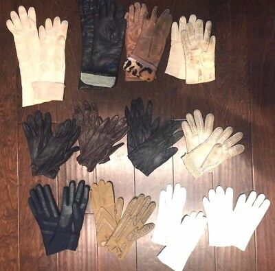 12 PAIR LOT 50s 60s Ladies Vintage Kid Leather Gloves Opera Driving Size 7-1/2