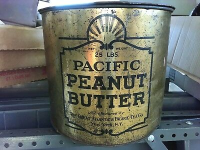 Vintage Great Atlantic & Pacific Tea Co 25 Lb Pacific Peanut Butter Lg Tin Can