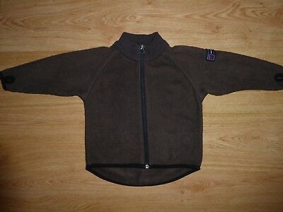 Kid's Polarn O Pyret Brown Zip Up Anti-Pill Fleece Jacket Mid Layer Top 92 cm