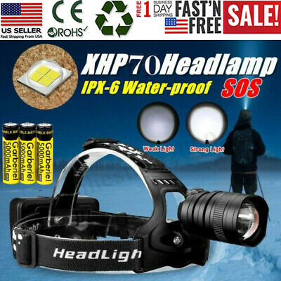 Garberiel 990000LM LED Headlamp Headlight Head Torch Zoom USB Rechargeable 18650