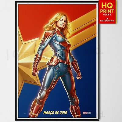 Captain Marvel Movie 2019 Marvel Poster Print CCXP Brie Larson | A4 A3 A2 A1 |