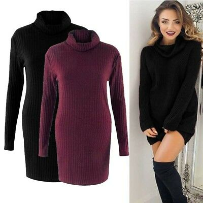 Winter Women's Knitted Sweater Pullover Loose Sexy High Collar Long Sleeve Dress