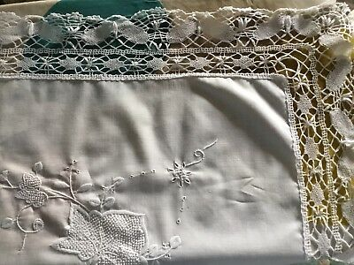 BEAUTIFUL VINTAGE HAND EMBROIDERED TABLECLOTH With Deep Hand Crocheted Lace Edge