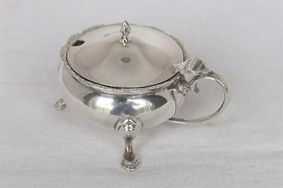 A Superb Large Solid Sterling Silver Mustard Pot & Glass Liner London 1953.