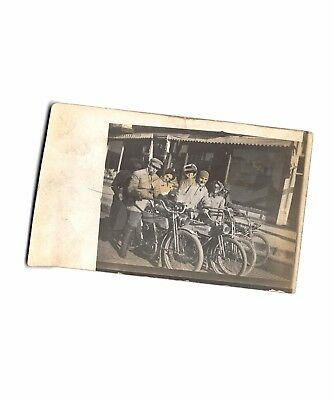 UNKNOWN EARLY MOTORCYCLE RIDERS, HOOPESTON, ILL.,  ca 1915, real photo card