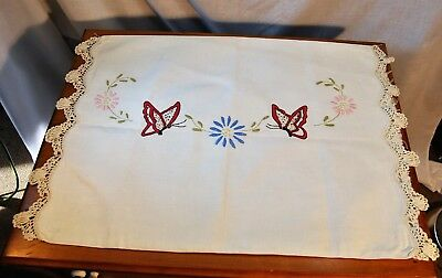 Antique Hand Embroidered Crochet Lace Linen Pillowcase Cover Arts Crafts Nouveau