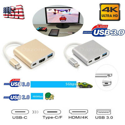 Type C USB 3.1 to USB-C HDMI 4K USB 3.0 Adapter 3 in 1 Hub For Apple Macbook Pro