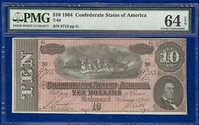 T-68 1864 $10 Confederate States Banknote PMG 64 Choice Uncirculated. EPQ
